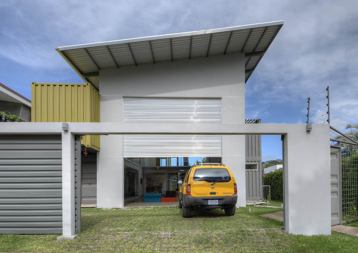 8 shipping containers make up a stunning 2 story home for 2 story metal garage