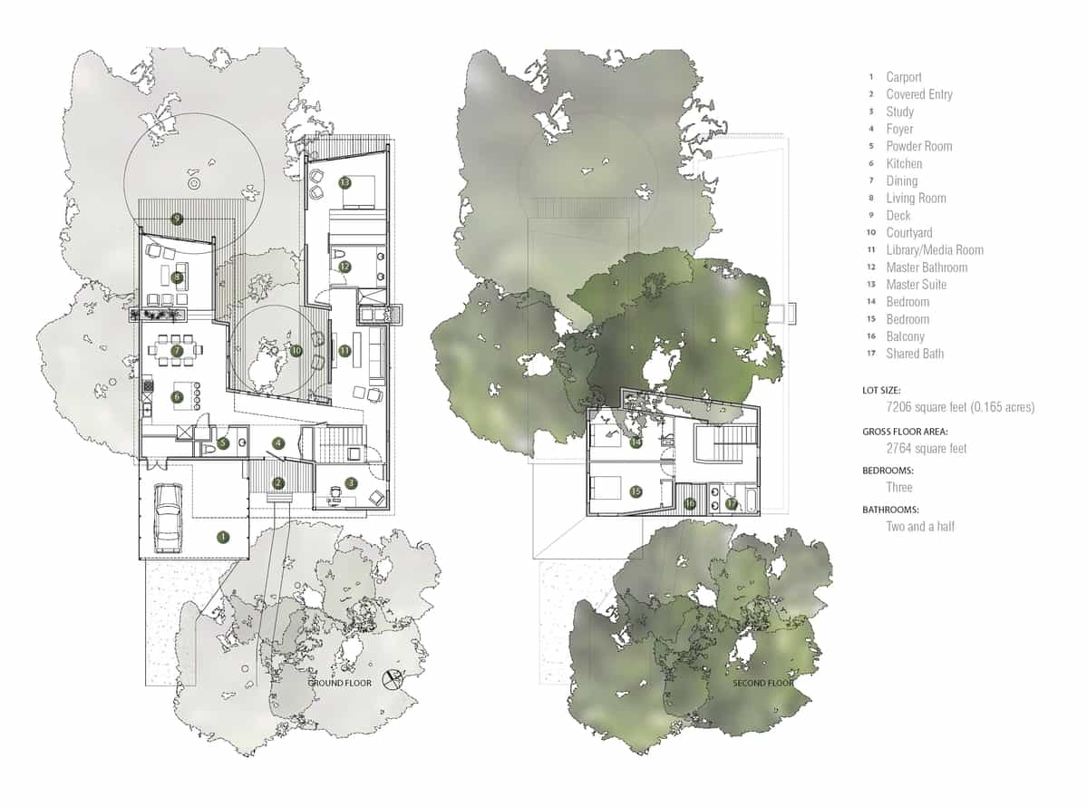 House Of Bryan Floor Plan Bold And Modern U Shaped Courtyard House Designed Around Trees