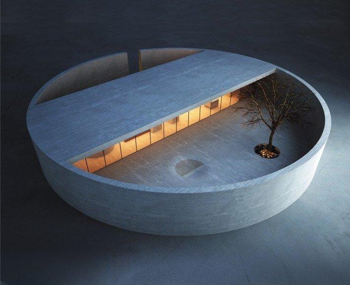 industrial design ring house is pure zen. Black Bedroom Furniture Sets. Home Design Ideas