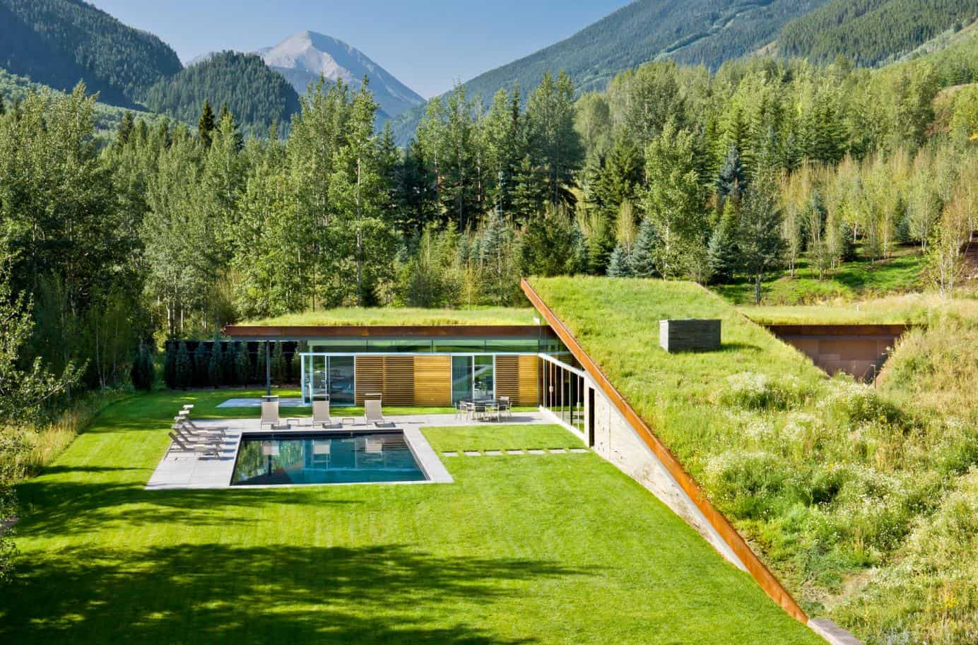 sustainable home with 2 landscaped roofs conceals private terrace. Black Bedroom Furniture Sets. Home Design Ideas