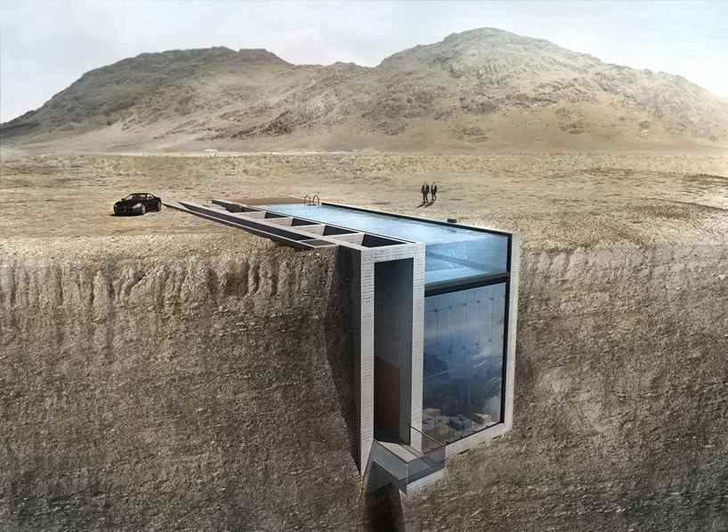 Futuristic House on Edge of Cliff Has Swimming Pool for Roof