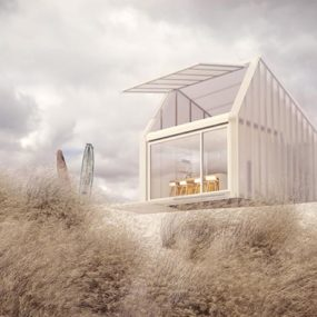 This Compact Prefab is Made from Polycarbonate Allowing the Light In Through Walls