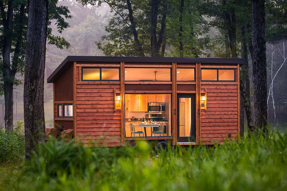This tiny home on a trailer is styled after famous for Tiny vacation homes