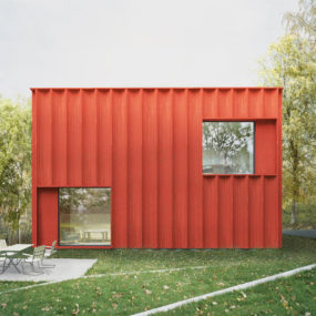 This Red Cubical Cottage was Designed Based on Statistics