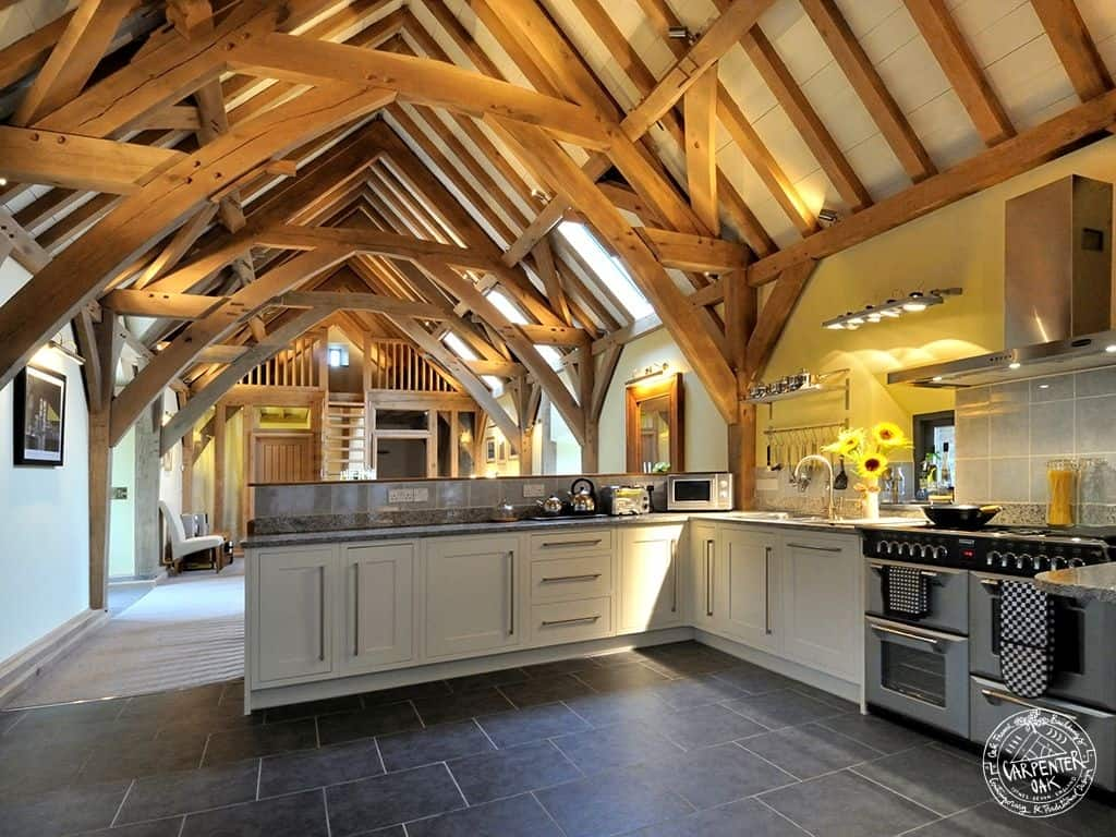 View In Gallery Barn Style Home Green Oak Conversion Kitchen