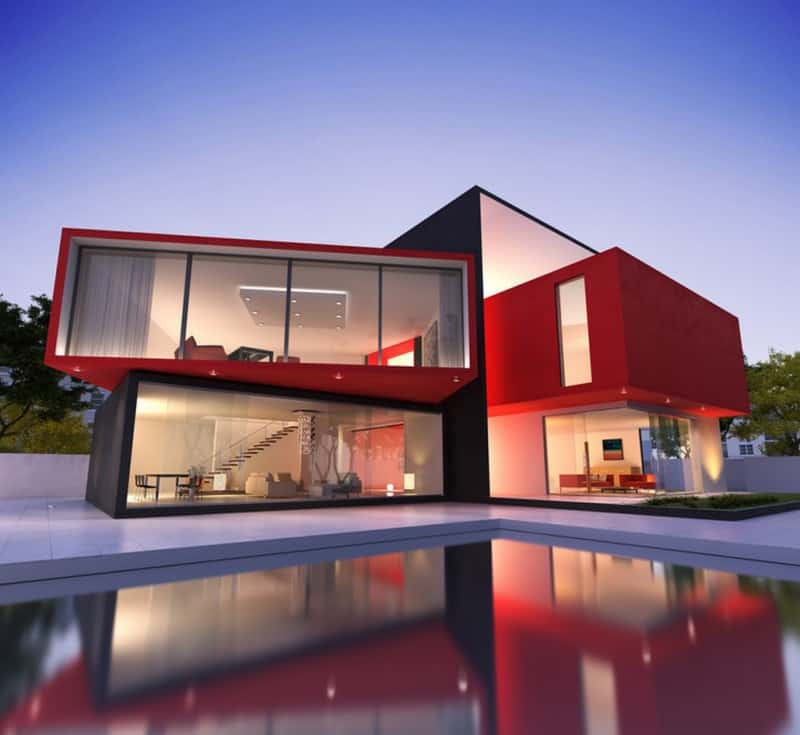 Red exterior homes paint the town for Modern painted houses pictures