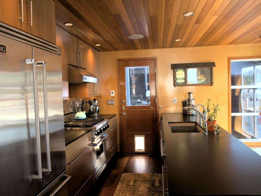 View In Gallery Floating Homes Interiors Wood Kitchen