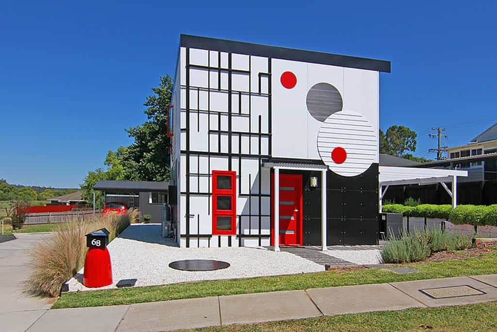 10 examples of house facades tweaked with artthe facade on art house one is a study of abstract art right down to the mail box on the site\u0027s corner