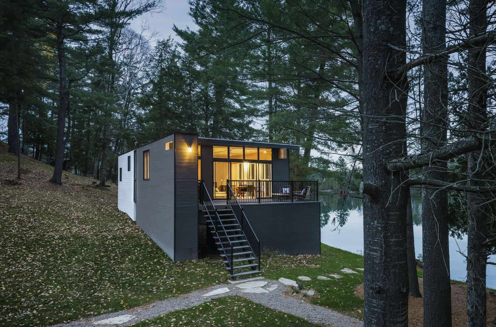 Prefab lake cottage with cross laminated timber construction for Small cottage plans canada