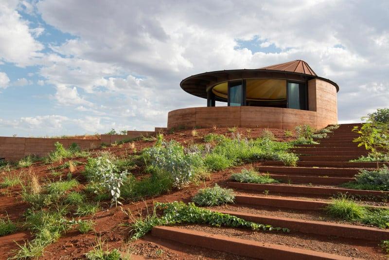 Semi Buried Houses In Australia Rammed Earth Wall By