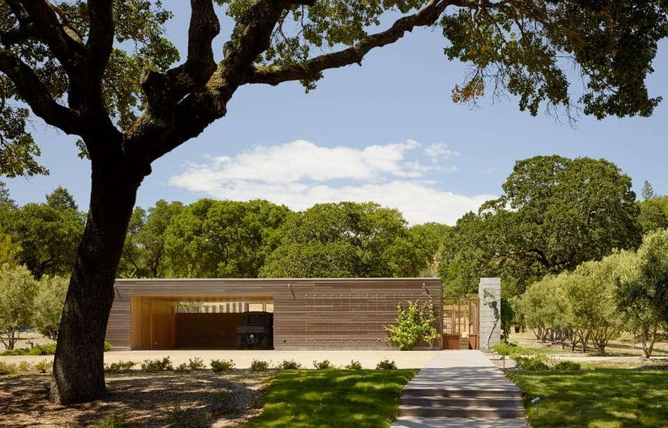 mature oaks and living roof contribute to passive energy home