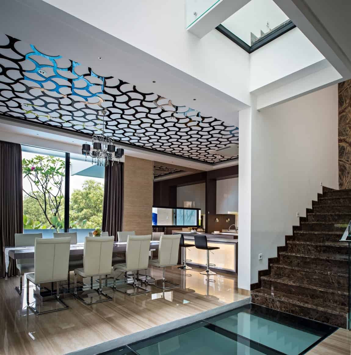 House with Creative Ceilings and Glass Floors
