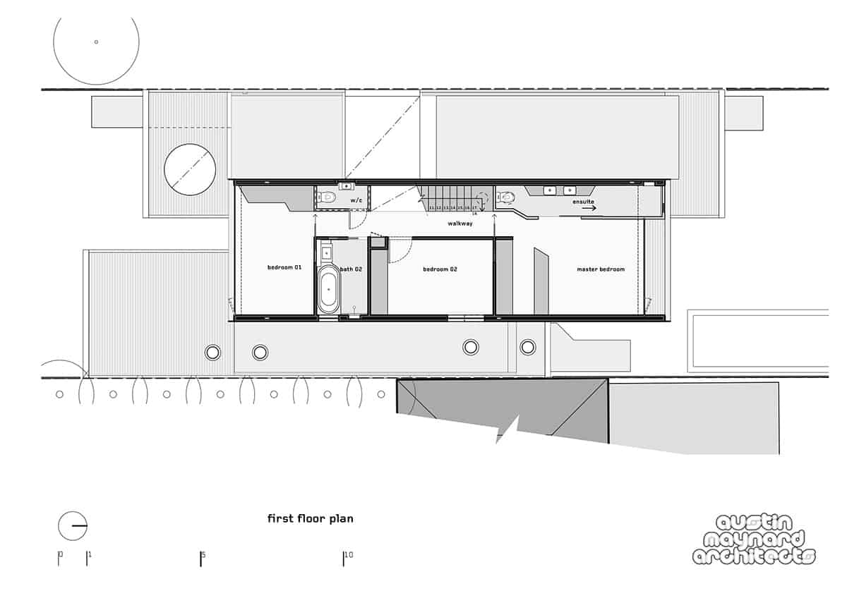Vintage The first floor plan Austin Maynard Architects Photography by Tess Kelly While That House is not large its geometric stacked design of glass volumes