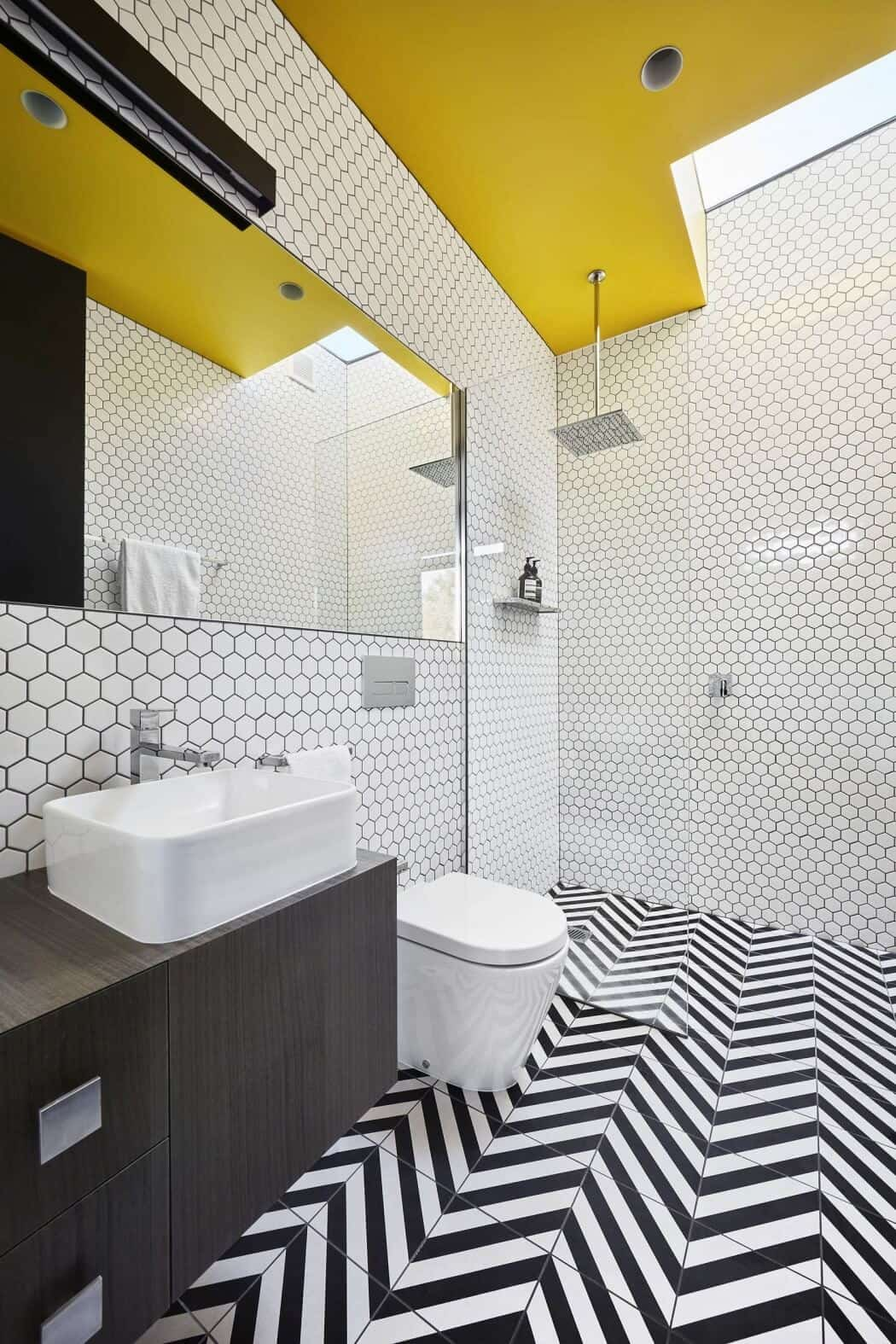 Modern waratah bay house gives nod to mc escher if this bathroom isnt pure escher we dont know what is doublecrazyfo Images