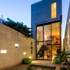 Skinny Concrete Home with Double Height Glass Doors