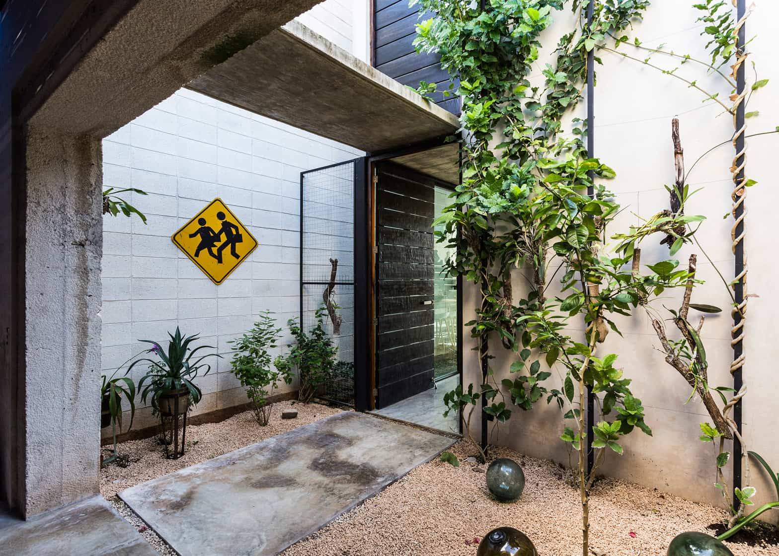 A dry landscaping used in the front yard includes plants pebbles concrete pavers and glass balls for a little bit of whimsy and of course adding to the ... & Skinny Concrete Home with Double Height Glass Doors pezcame.com