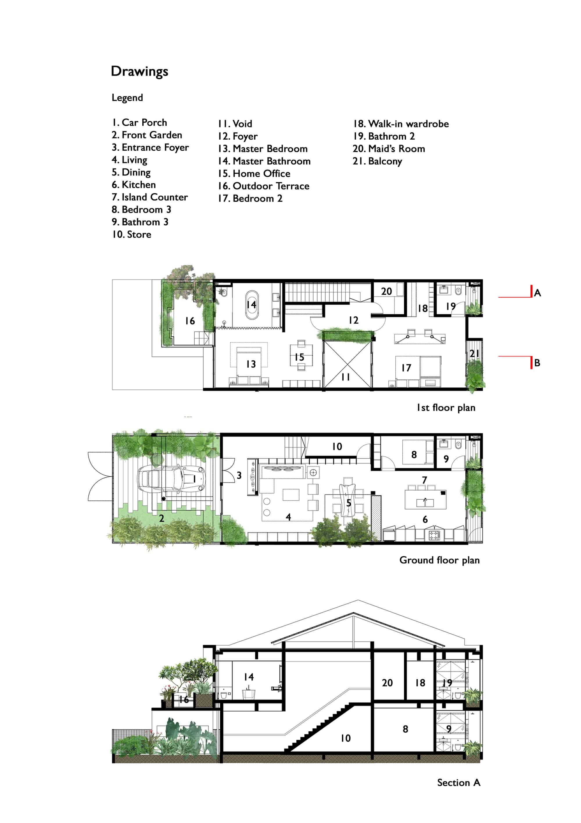 Trees and shrubs create faux courtyard inside house for Old world house plans courtyard