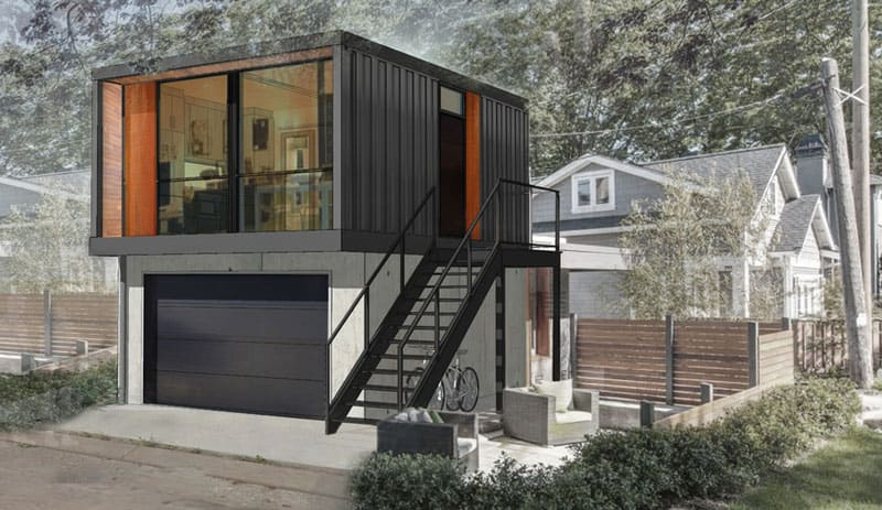Prefabricated homes from shipping containers in 3 for Shipping containers homes plans