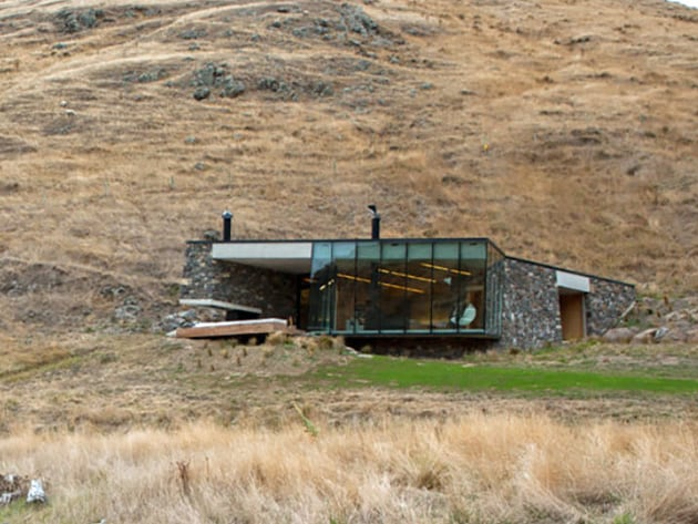 Sustainable oceanfront cabin on remote volcanic mountainside for Remote cabin plans