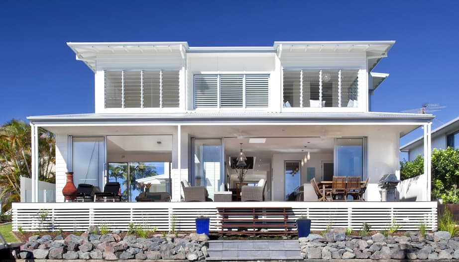 Airy beachfront home with contemporary casual style for Oceanfront house plans