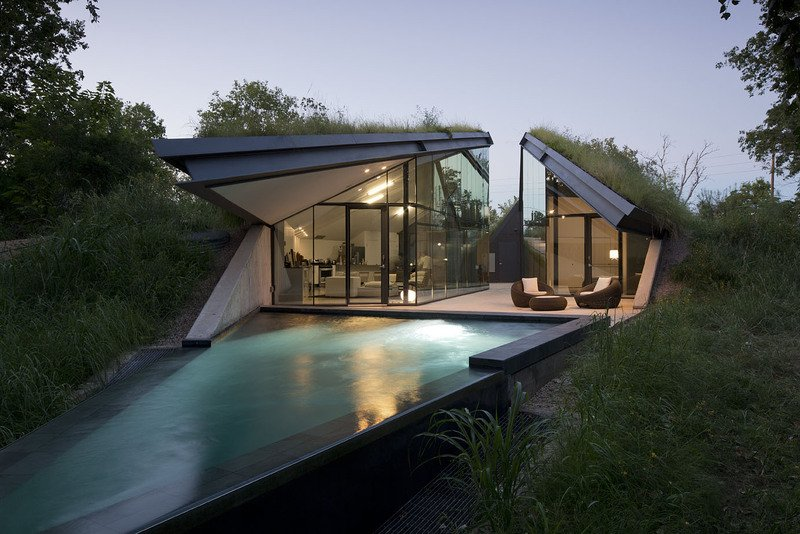 Underground Eco House Split Into Living And Sleeping Halfs
