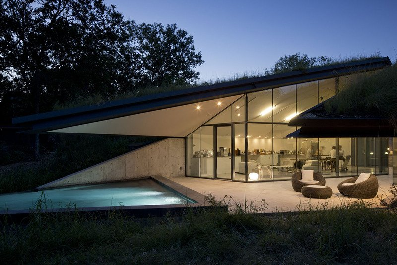 Underground Eco House Split Into Living And Sleeping Halfs