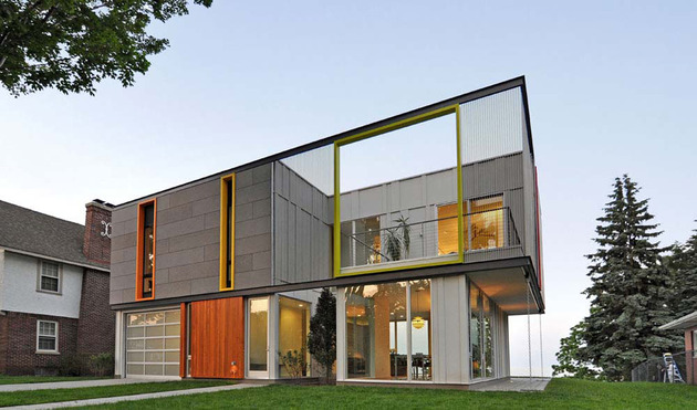 colorful contemporary house with a bold green side 1 thumb 630x371 11482 Wisconsin country home with an upper level open air terrace