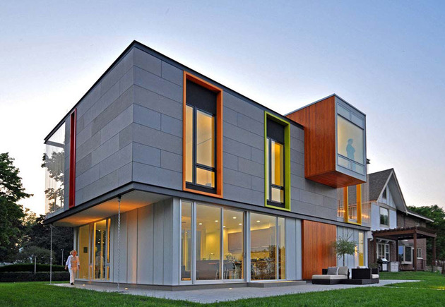 colorful contemporary house with a bold green side 2 thumb 630x435 11484 Wisconsin country home with an upper level open air terrace