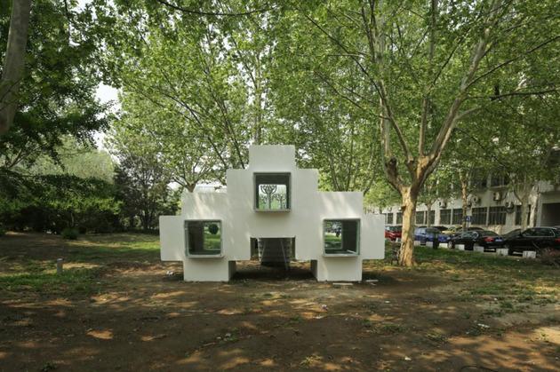 compact modular block house in beijing urban park 1 thumb 630x419 12240 Micro Modular Block House in Beijing urban park