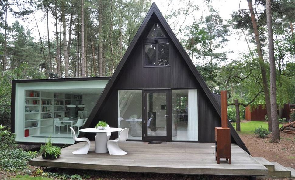 View In Gallery Modern Glass House Addition By Dmva Architecten 1 Thumb 630x385 17040 A Frame Summer Cabin Gets