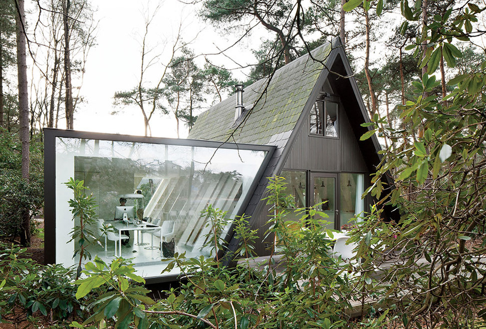 A frame summer cabin gets glass addition for Modern a frame homes