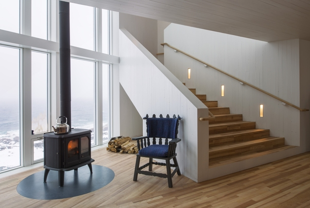 fogo island inn offers design inspiration modern lifestyles %202 fireplace thumb 630x424 20012 Fogo Island Inn Offers Design Inspiration for Modern Lifestyles