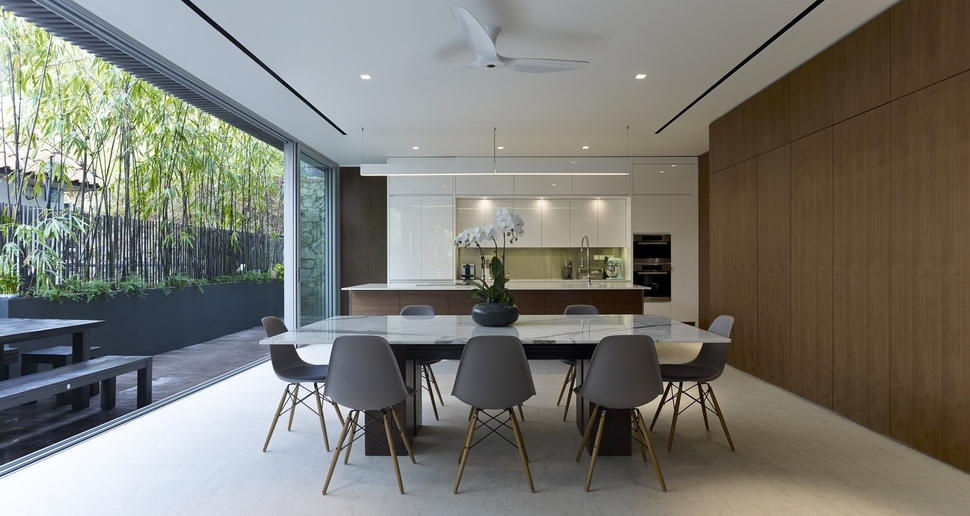 View In Gallery Gabled Roof Jazzes Up Minimalist Y House Singapore