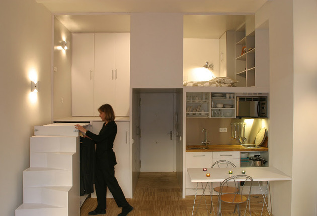 super compact dadrid apartment with soothingly smooth finishes 2 everything open thumb 630x431 22717 Super Compact Apartment in Madrid