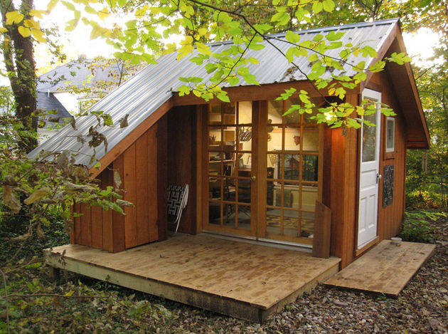 Tiny house a backyard sanctuary in missouri for Garden shed music studio
