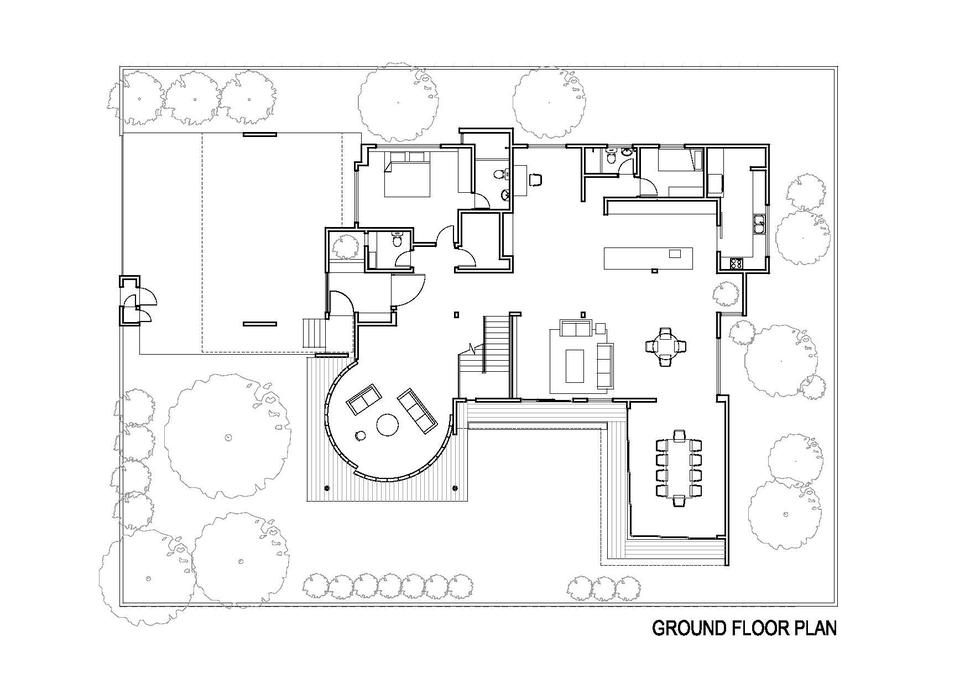 Curved and stacking louvered glass doors surround room in for Glass house floor plans
