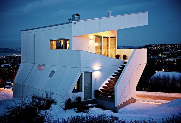 geometric norwegian house with creative interior fixtures 1 nighttime stairs thumb 630x428 24554 Geometric Norwegian House With Creative Interior Fixtures