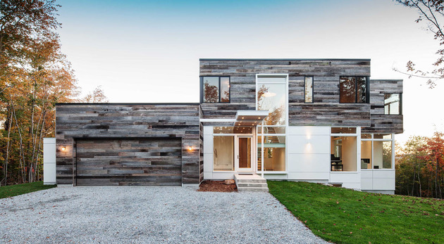 quebec home embraces nature with glazing and open interior 1 thumb 630x347 24514 Reclaimed Wood Exteriors and Interiors House