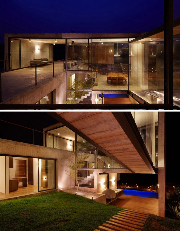 alfresco house with courtyard glass walls and concrete interiors thumb 630x808 29717 Hillside House with 2 Concrete Volumes, 2nd Story Entrance, Bridge