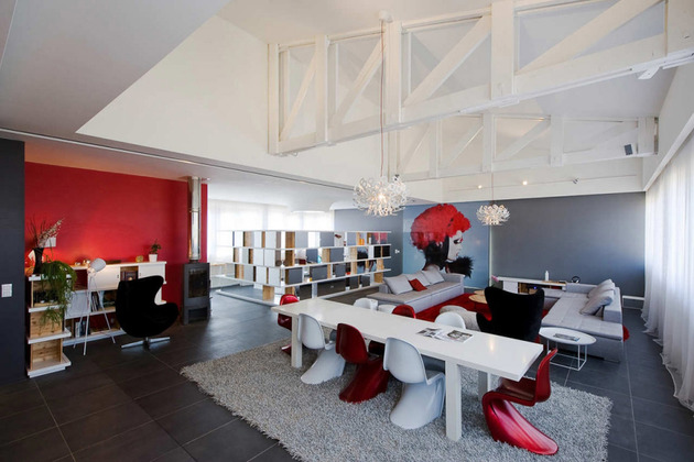fashionable french loft with open interiors and colorful lighting 1 thumb 630x420 28683 Fashionable French Loft with Open Interiors and Colorful Lighting
