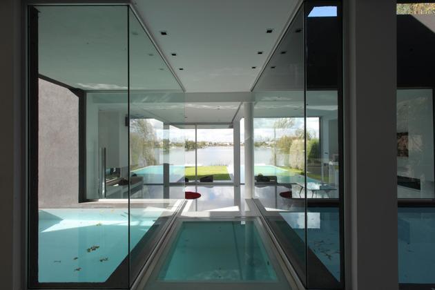 lakeside black house views pools glass bridge 1 pools view thumb 630x420 27394 Lakeside Black House has Views   Pools   Glass Bridge