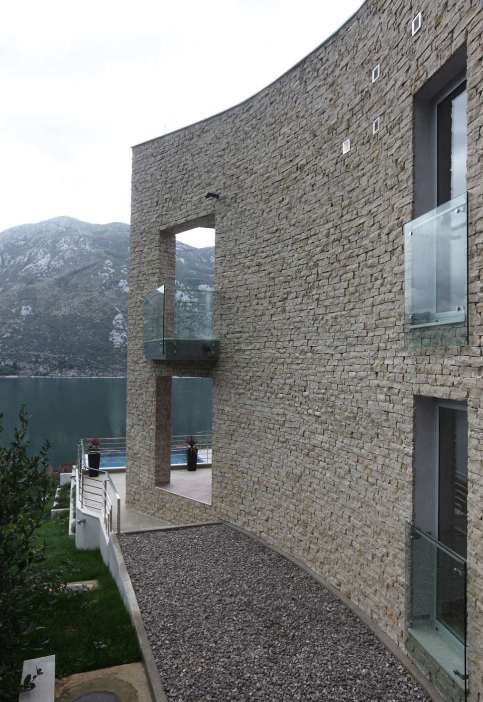 Villa With Curved Stone Walls On Adriatic Sea