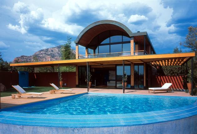 desert dwelling copper clad barrel roof 1 backview thumb 630xauto 32378 Desert Home with Copper Clad Barrel Roof