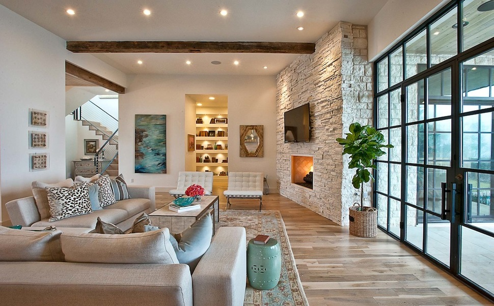 elegant suburban house with exposed interior wood beams
