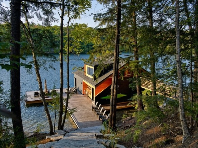 floating wooden one bedroom cabin with integrated boathouse 2 down hill thumb 630xauto 33590 Floating Cabin With Integrated Boathouse