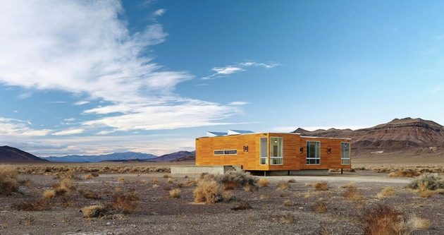 isolated desert getaway house with retractable deck cover 1 front angle thumb 630xauto 31619 Prefab Desert Getaway House With Retractable Covered Deck