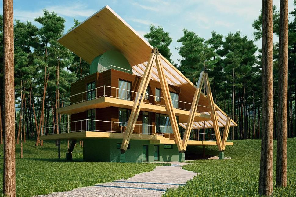 Energy efficient grasshopper shaped house for Efficiency house