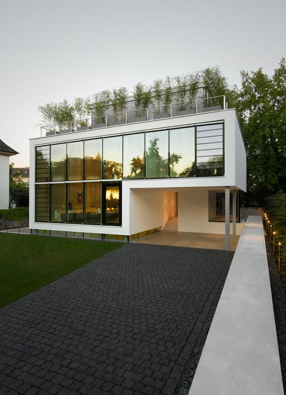 Energy Optimized House With Roof Terrace Louver Windows Exterior Window Shutters And Elevator