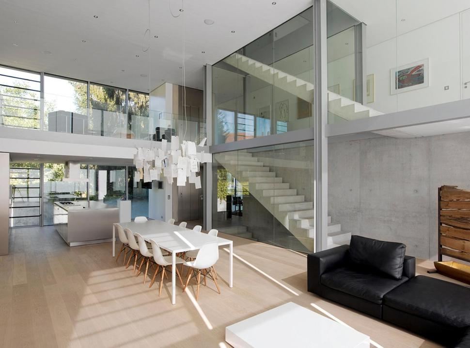 view in gallery energy optimized house with roof terrace louver windows the main living room