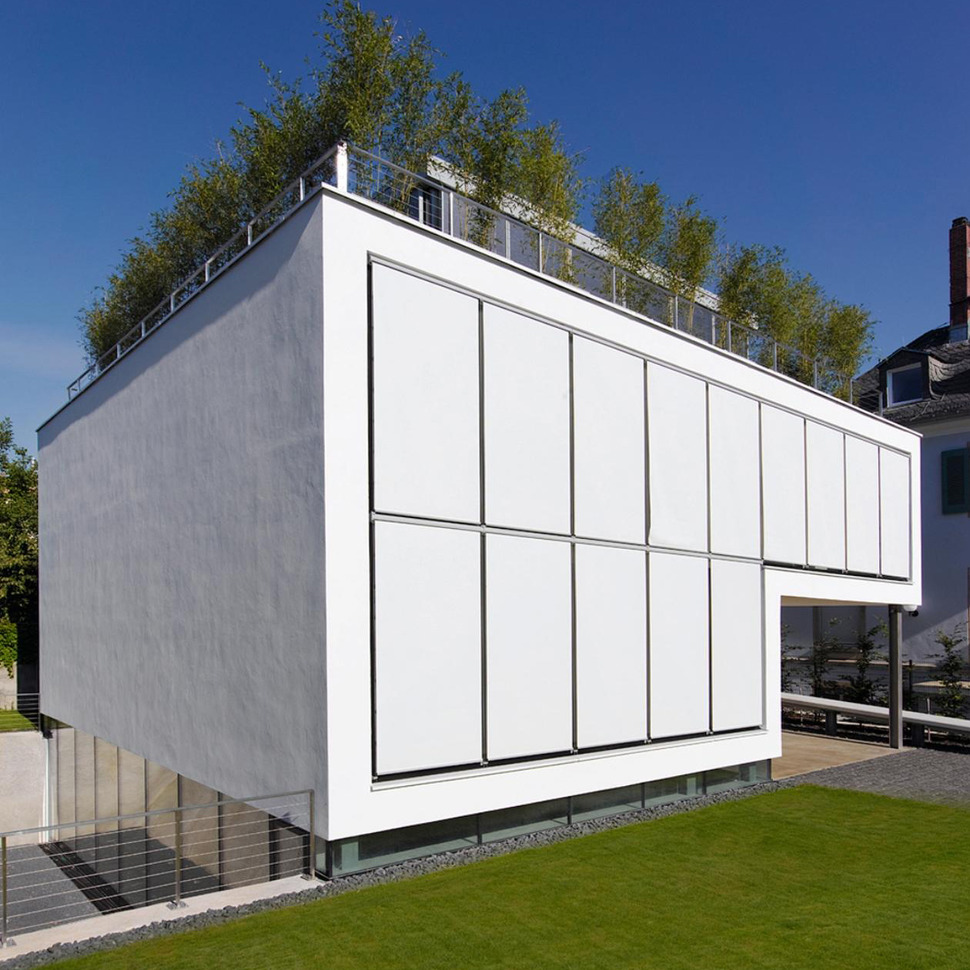 Energy Optimized House with Roof Terrace, Louver Windows, Exterior ...